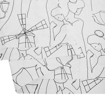 Cotton satin duvet cover set with Paris pattern