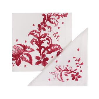 Set 2 tovaglioli puro cotone stampa floreale
