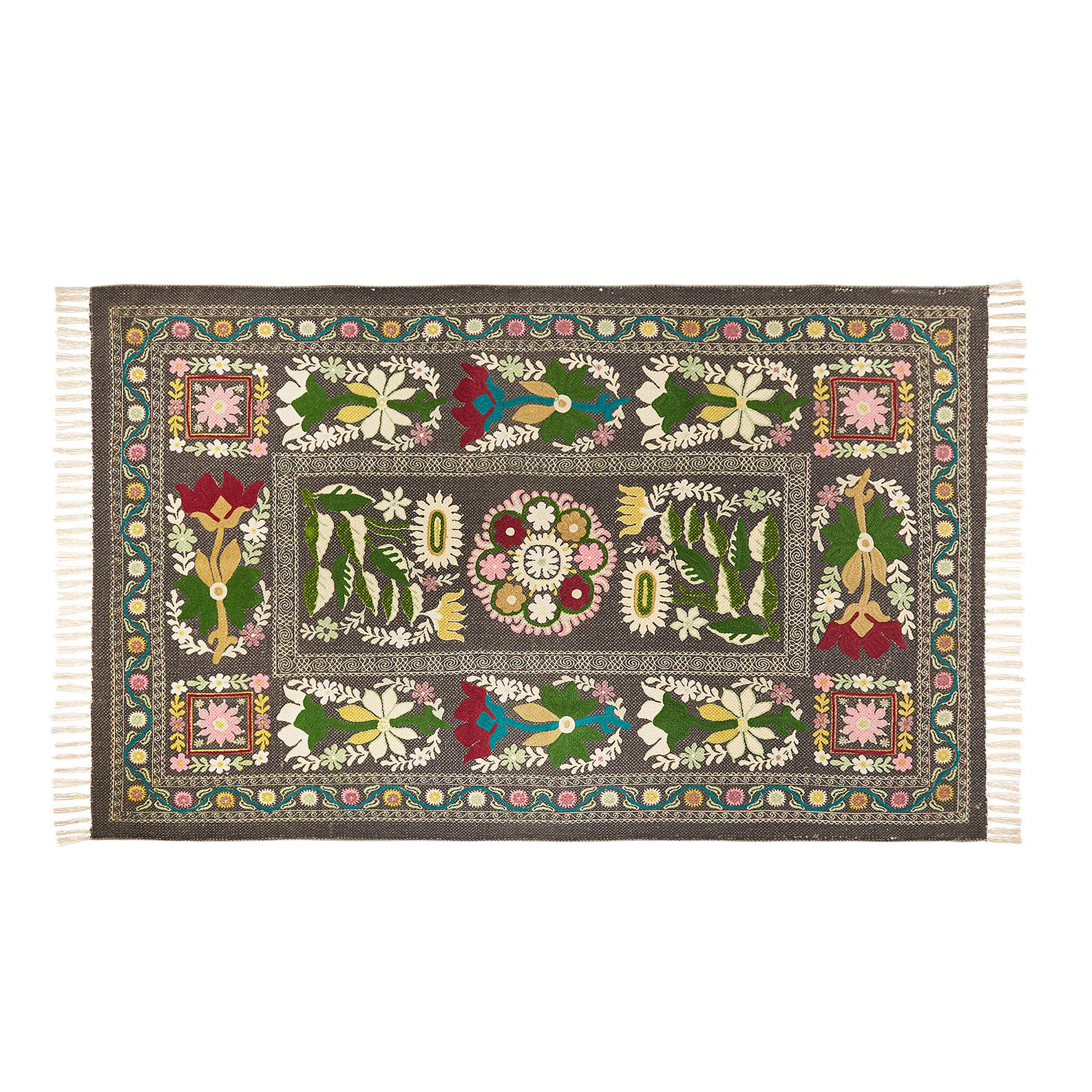 Hand-woven cotton rug embroidered in wool