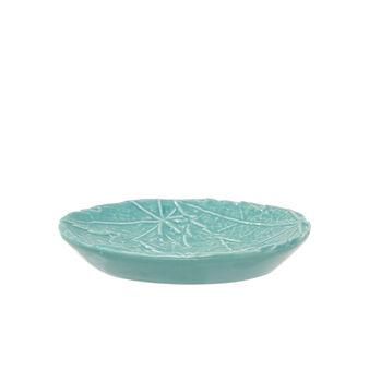 Ceramic soap dish with raised leaf decoration
