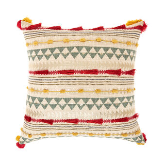 Cushion with raised inserts and tassels