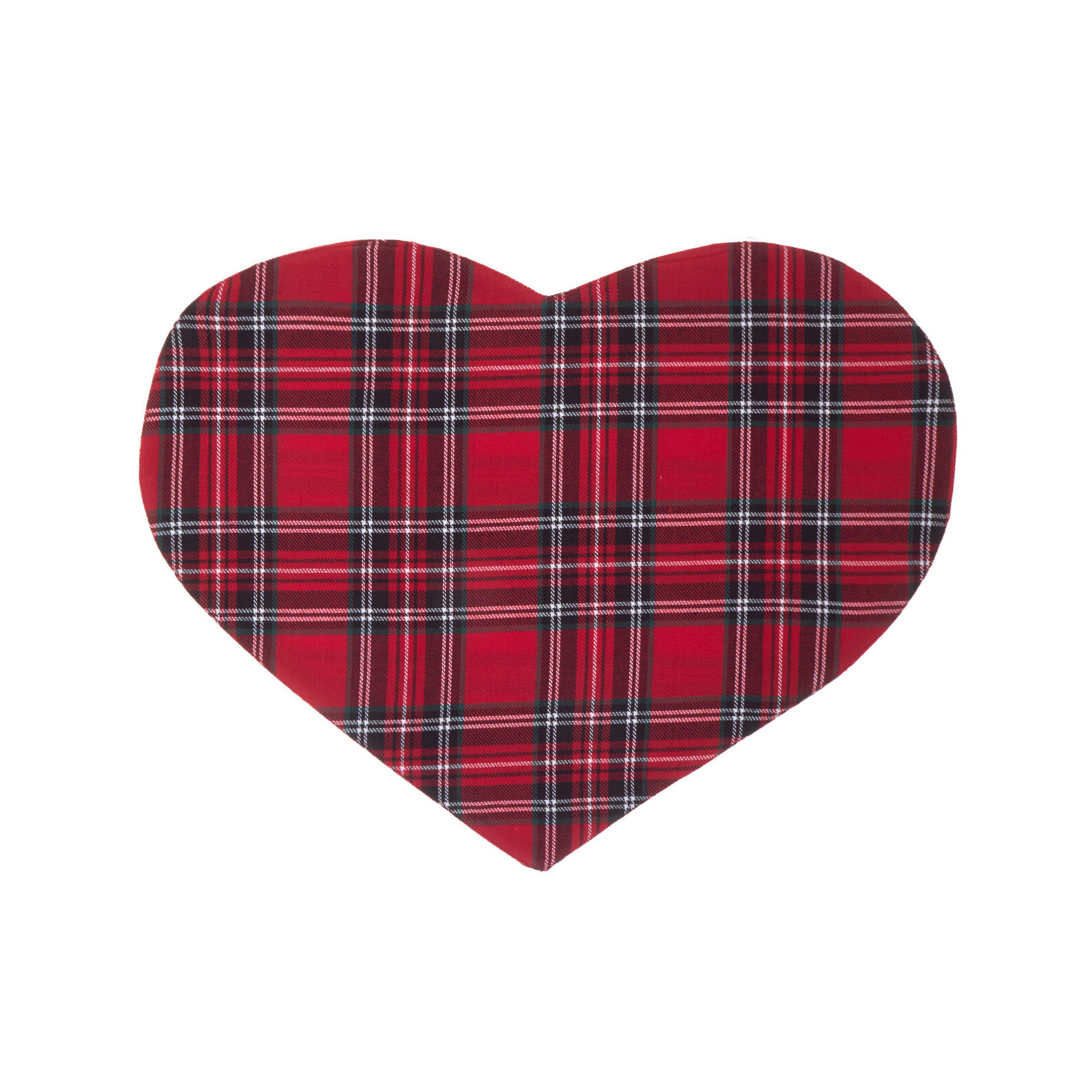 Heart-shaped table mat in cotton twill with tartan motif
