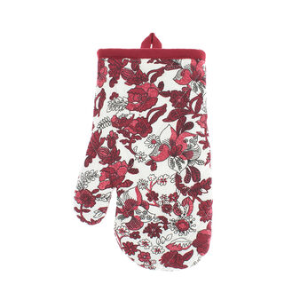 Oven mitt in 100% cotton with flower print