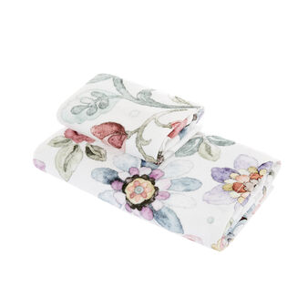 Towel in 100% cotton velour with flowers print