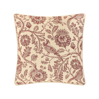 Cotton cushion with raised floral embroidery