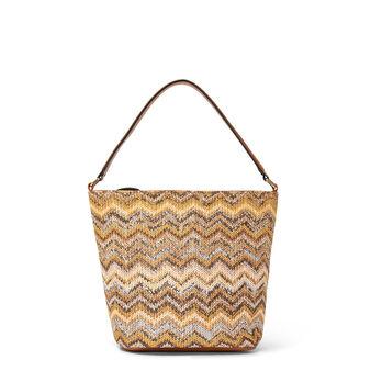 Bi-material hobo bag with herringbone design