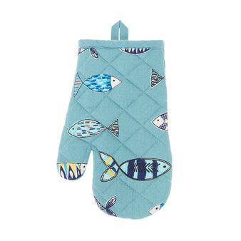 100% cotton oven mitt with fish print