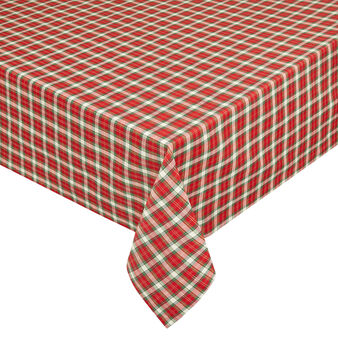 Cotton blend tartan tablecloth with lurex