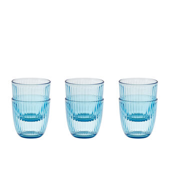 Set of 6 coloured glass tumblers