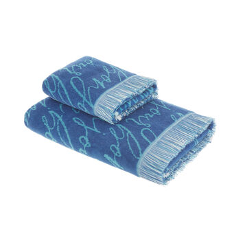 Cotton velour towel with lettering pattern