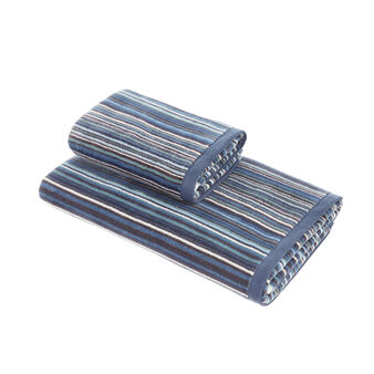Cotton velour towel with multicoloured striped pattern