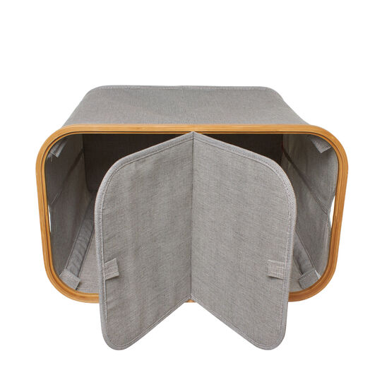 Laundry basket with 2 compartments in fabric and bamboo