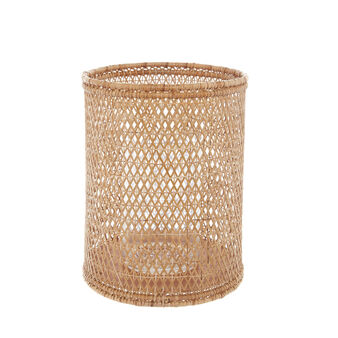Hand-woven bamboo and rattan storm lantern.