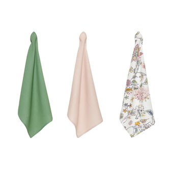 3-pack tea cloths in 100% cotton with flower print