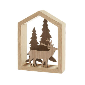 Wooden decoration with house, moose and trees