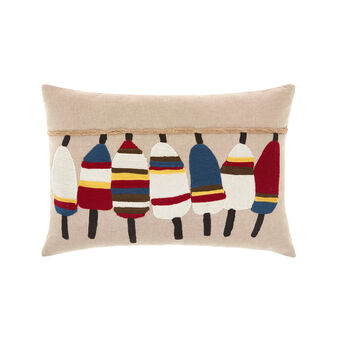 Cotton cushion with buoys embroidery 35x50cm