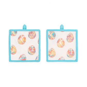 2-pack cotton pot holders with Easter print