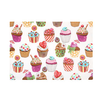 Cotton twill table mat with cupcakes print by Sandra Jacobs design