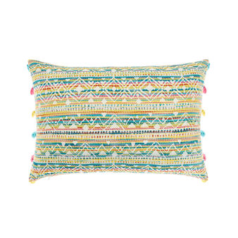 Striped jacquard cushion with tassels