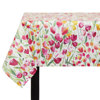 100% cotton tablecloth with tulip print by Sandra Jacobs design