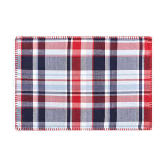 Yarn-dyed table mat in 100% cotton with check motif