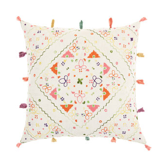Cushion with embroidered motifs and tassels