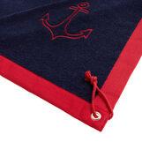 Cotton terry beach towel with anchor motif