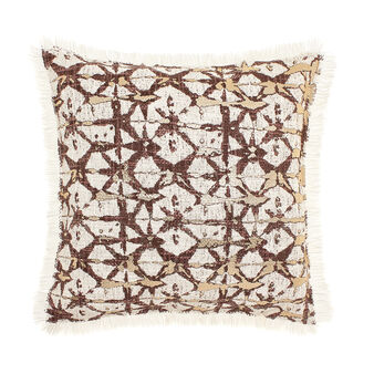 Cushion with coated-effect print