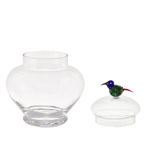 Glass cake stand with bird detail