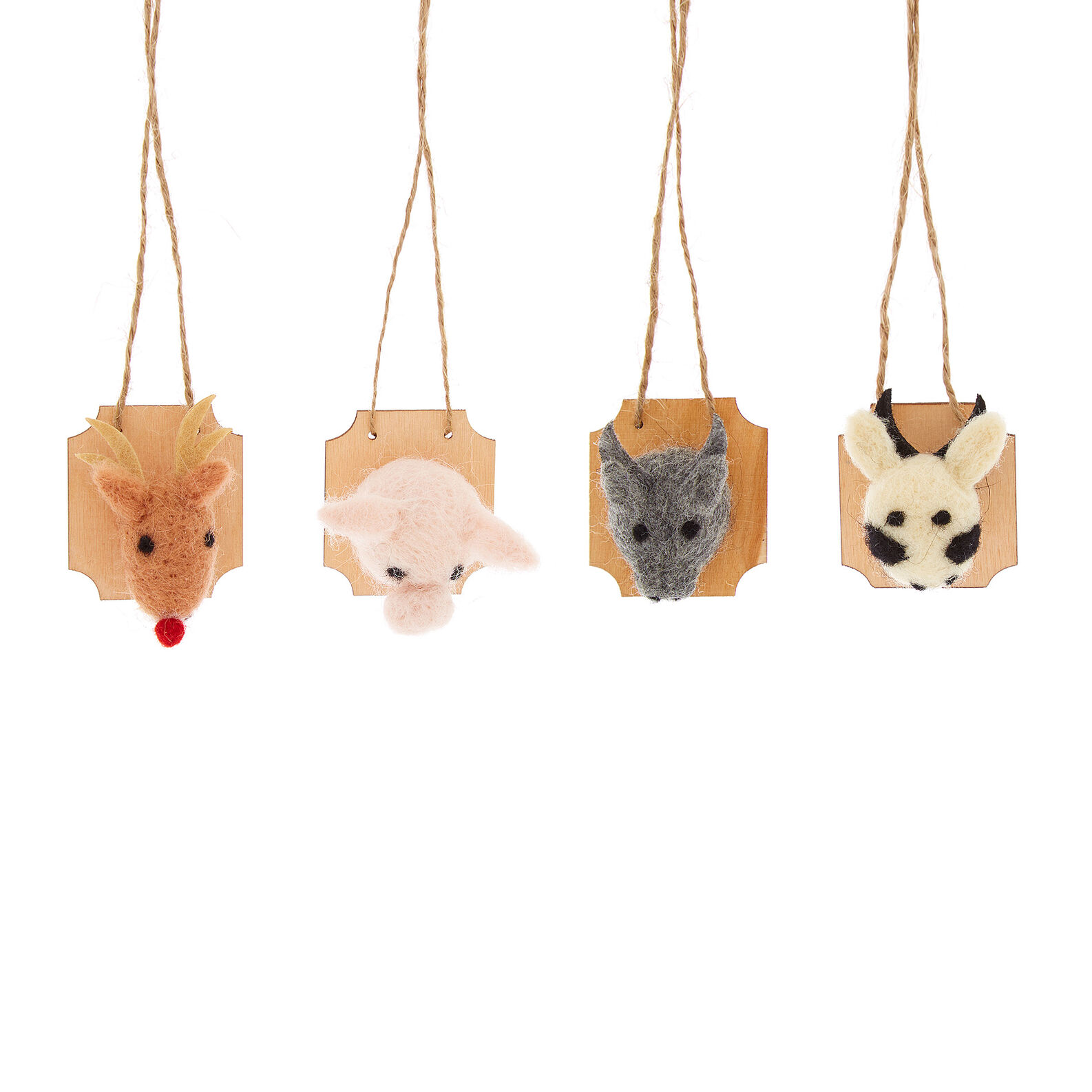 Set of 4 handmade animal decorations