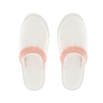 Terry slippers with fringes