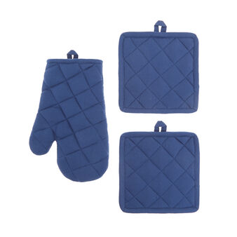 Set of 2 solid colour pot holders and an oven mitt in 100% cotton