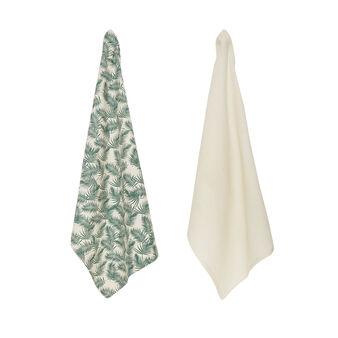Set 2 strofinacci puro cotone stampa foglie