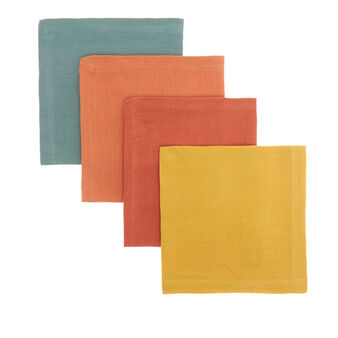 Set of 4 napkins in 100% solid colour linen