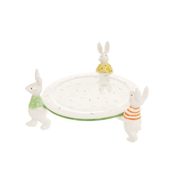 Ceramic cake stand with rabbits detail