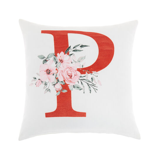 Cotton cushion cover with P print 45x45cm
