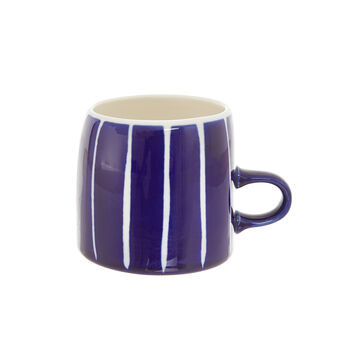 Striped stoneware mug