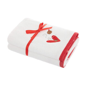 Set of 2 cotton towels with heart embroidery