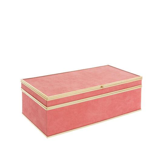 Portagioie rosa con profili dorati