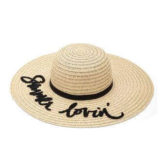 Cappello tesa larga con ricamo