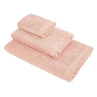 Asciugamano puro cotone bordo sangallo