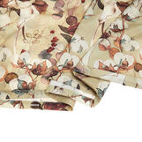 Flat sheet in cotton percale with cotton flower pattern