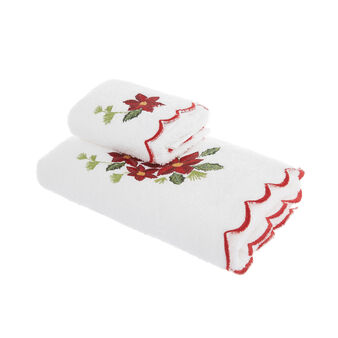 Set of 2 towels with edelweiss embroidery