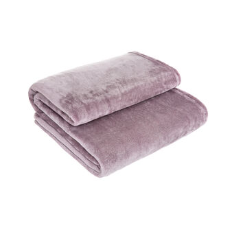 Solid colour fleece throw with silver details