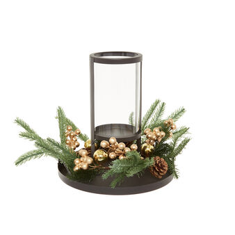 Lanterna in ferro con corona decorativa
