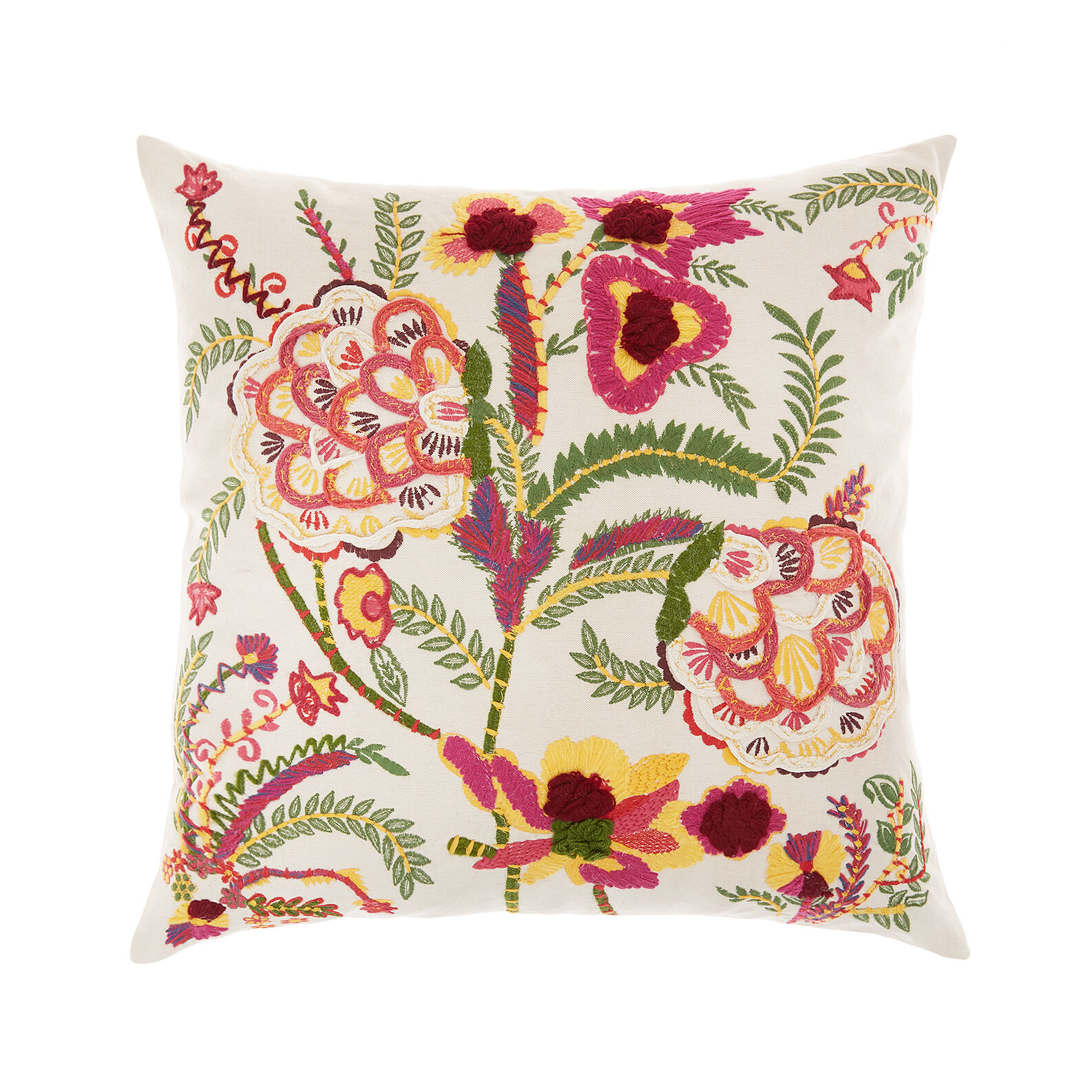 Cushion with floral embroidery and print