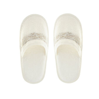 Portofino 100% cotton slippers with jacquard edging