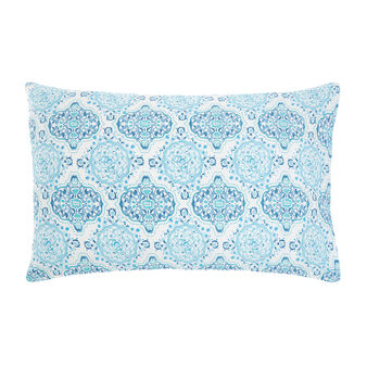 Cotton percale pillowcase with mosaic pattern