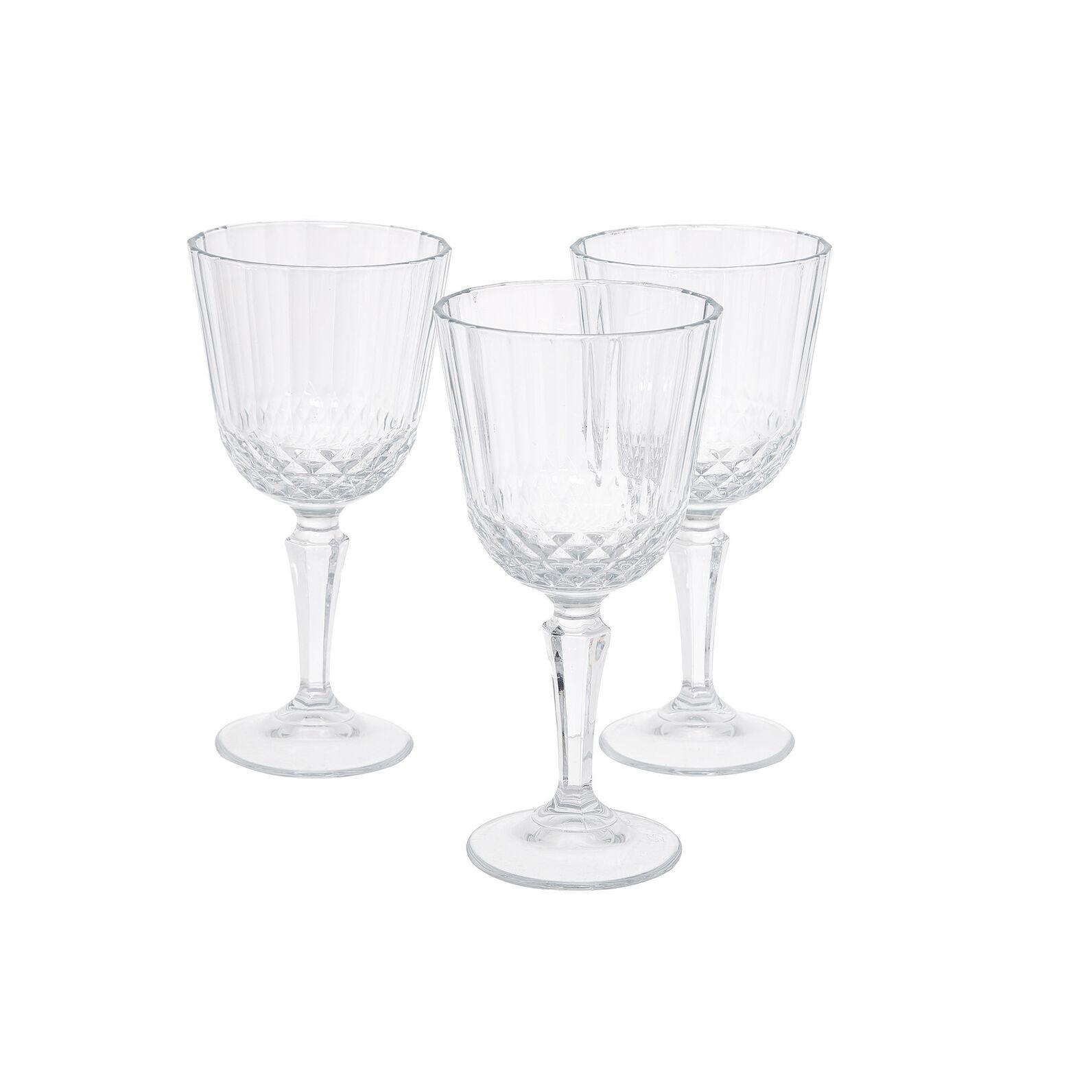 Set of 3 glass Diony wine goblets