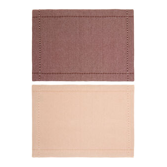 Set of 2 solid colour table mats in 100% cotton mélange